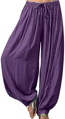 Huaheng Vrouwen Casual Baggy Boho Gypsy Yoga Aladdin Harem Broek Broek XL Paars