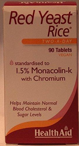 Healthaid Rode Gist Rijst 90 Tabletten Twee Een Dag x 3 Packs
