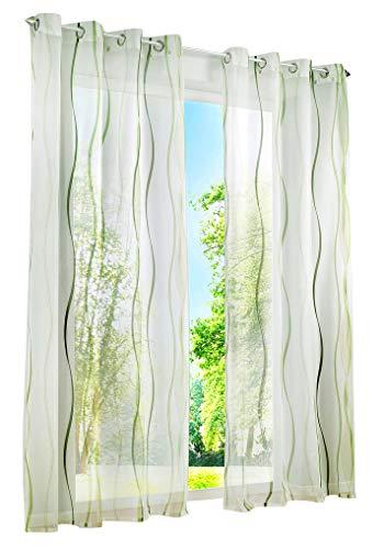 BAILEY JO 1er-Pack Gardinen mit Wellen Druck Design Vorhang Transparent Voile Vorhänge (BxH 140x175cm, grün mit Ösen)