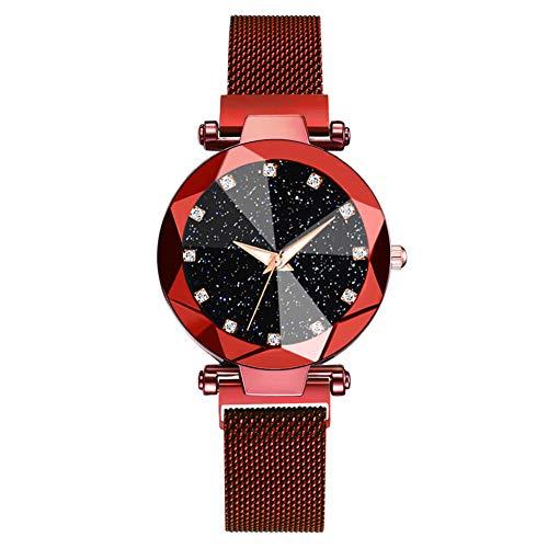 Zozmy Reloj de señoras Reloj de Cuarzo analógico Reloj de Cuarzo Reloj de Acero Inoxidable de Malla Pulsera de la Correa automática,D
