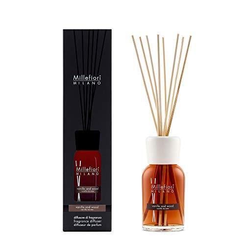 Millefiori 7DDDV Vanilla und Wood Raumduft Diffuser 250 ml Natural inklusive Stäbchen, Glas, Braun, 7.8 x 30.9 x 7.3 cm