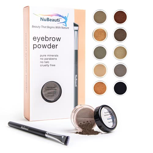Mineral Eyebrow Powder by NuBeauti - Natural Brow Makeup Kit with Angled Contour Brush for Precision Sculpting to Color Eyebrows Precisely for Beautiful Perfect Brows (With Brush, Dark Brown)