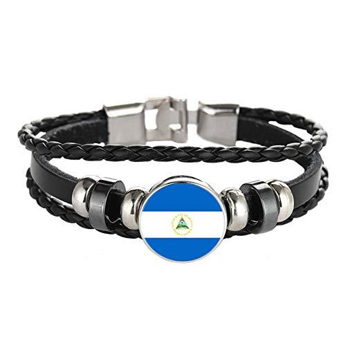 Pulsera de estilo bandera nacional creativa de Nicaragua, regalo de recuerdo de viaje personalizado pulsera tejida accesorios para hombres y mujeres