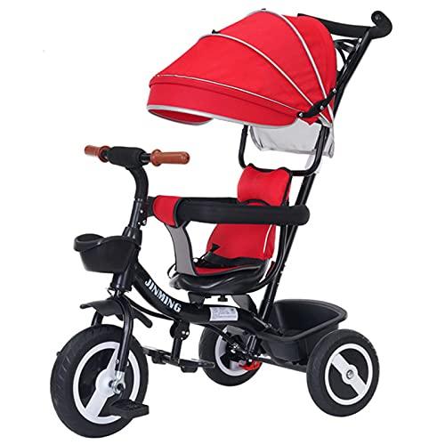 BSWL 4-En-1 Trolley Trolley Triciclo, Asiento Giratorio, Adecuado para Niños De 1 A 6, Cochecito De Bicicleta para Niños Ajustable,Rojo