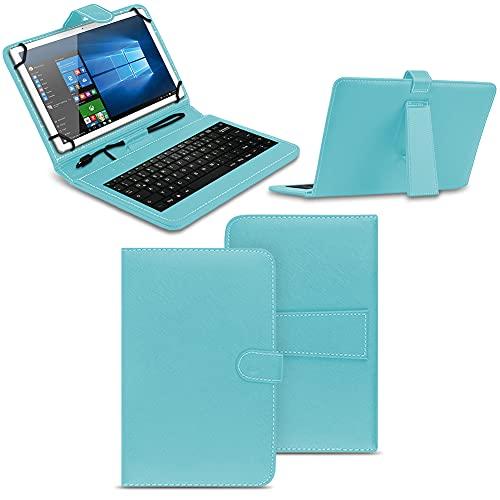 NAmobile Tastatur Schutzhülle kompatibel für Wortmann Terra Pad 1006 Tasche Keyboard USB Hülle QWERTZ Standfunktion Universal Cover, Farben:Türkis
