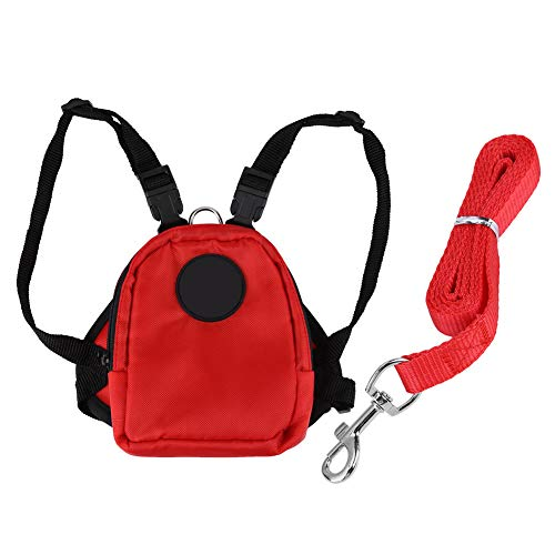 Josopa Small Dog Pet Backpack Snack Storage Bag Harness with Lead Leash Best Choice for Outdoor Travel in The Garden(Red S)