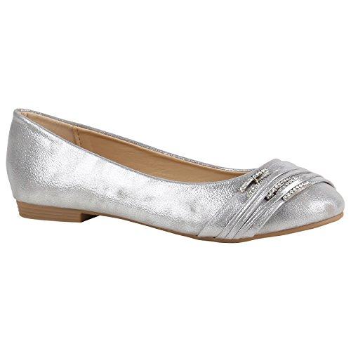 stiefelparadies Klassische Damen Schuhe Ballerinas Strass Flats Modische Schuhe 156949 Silber Strass Avelar 36 Flandell