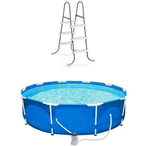 Above Ground Pool with Pump 10 Foot Round Swimming Pool Durable Pump Filter with Ladder Metal Frame Best Above Ground Pool Summer for Kids and Adults Swim Center Easy Setup & eBook by NAKSHOP