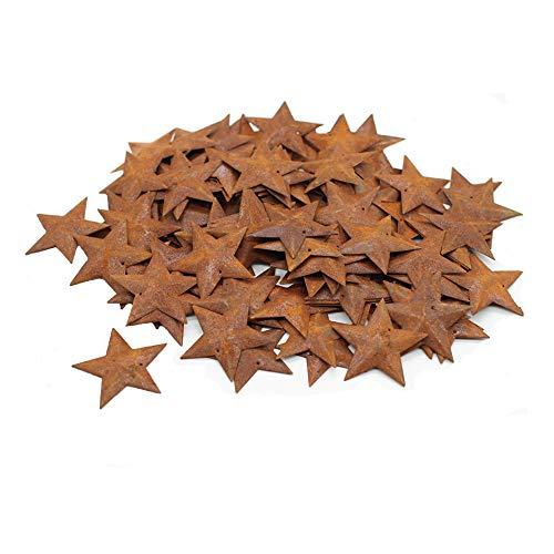 Yokoke Group of 100 Rusted Tin Dimensional Miniature Barn Stars with Hole and Hollow Backs for Decorating and Finishing
