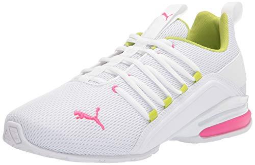 PUMA mens Axelion Running Shoe, Puma White-glowing Pink, 8.5 US
