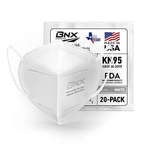 BNX KN95 Face Mask Made in USA (20-Pack), FDA Registered KN95 Mask Disposable Particulate Respirator, GB2626-2019, Protection Against Dust, Pollen and Haze (20 pcs) (Earloop) (Model: E95) White