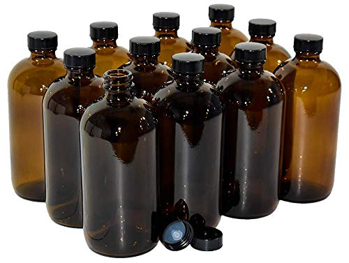 (12 Pack) 16 oz. Amber Boston Round with Black Poly Cone Cap