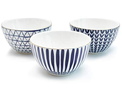 Werner Voss 3er Set Schalen 'Santorin', Steingut, D 12,5 cm Müslischalen Blau Weiß Gold Dessertschalen mit edlem Design-Dekor