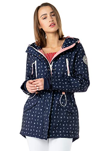 Sublevel Damen Softshell-Jacke Kurzmantel mit Kapuze & Print Blue S