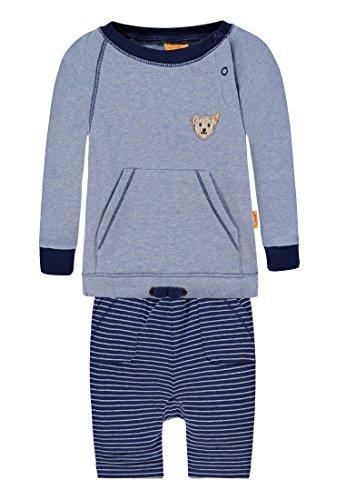 Steiff Jungen 2tlg. Set Sweatshirt 1/1 Arm + Jogginghose Strampler, Blau (Chambray Blue 3155), 74