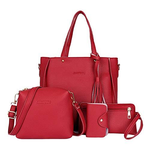 DBSUFV 4 Stück/Set Mode Composit Bag Quasten Dekoration Große Kapazität PU Leder Handtasche Umhängetasche Umhängetasche Geldbörse Geldbörse