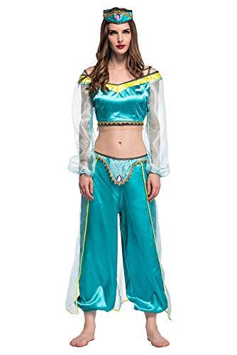 lancoszp Donna Adulto Costume da Principessa Araba Halloween Camicia + Pantaloni da Gioco di Ruolo da Fiaba di Danzatrice del Ventre, M