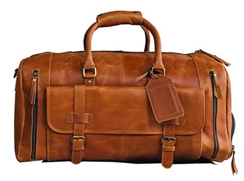 24' Large leather Travel Bag Duffel bag Gym sports flight cabin bag Leather Holdall Overnight Weekend Large luggage bag (LIGHT BROWN)