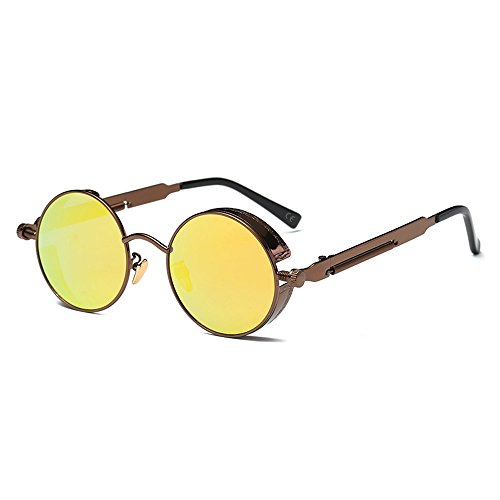 AMZTM Pequena Redondo Reflejado Reflexivo Azul Verde Lentes Polarizadas Gafas de sol Para Mujer & Hombre (Marron oscuro Cuadro Y Amarillo Lente, 48)