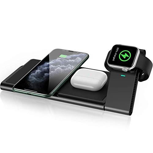 AGPTEK 3 En 1 Cargador Inalámbrico Rápido, Estación de Carga Rápida Qi Inalámbrica Soportes para iPhone SE 12 Pro/12 Pro Max/11/11 Pro, X/XR/XS Apple Watch Series 1/2/3/4/5 Airpods 2