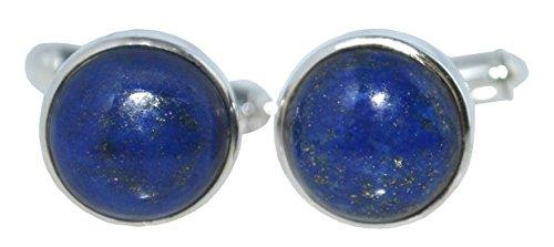 Argent sterling Bleu lapis Boutons de manchette, pierres naturelles pour homme livré dans une boîte cadeau, pierre ronde