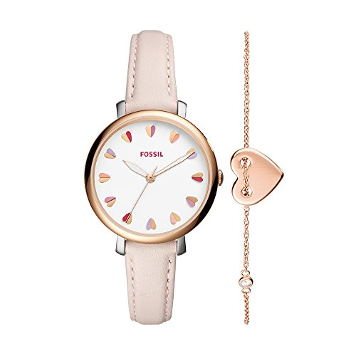 Fossil Women's Jacqueline Stainless Steel Quartz Watch with Leather Calfskin Strap, Rose Gold, 14 (Model: ES4351SET)