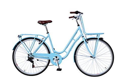 28 Zoll Damen City Fahrrad Rad Bike Cityfahrrad Damenfahrrad Citybike Cityrad Damenrad Gepäckträger Frontträger Retro HELL BLAU