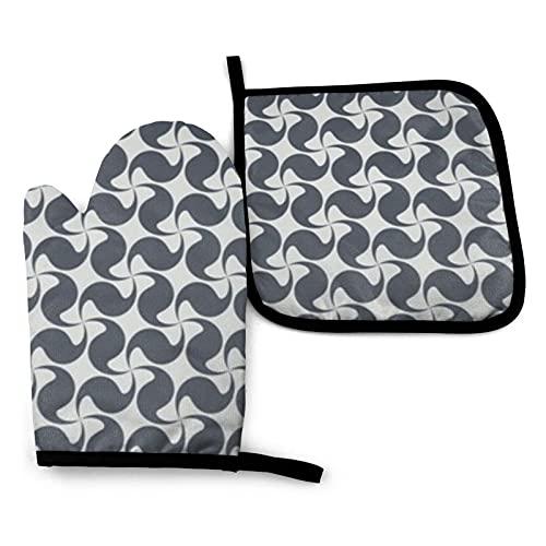 BONRI Gris claro adornos geométricos mitones de horno y soportes para ollas Juegos de guantes de horno y agarraderas con guantes de cocina antideslizantes de poliéster reciclable para cocinar y asar
