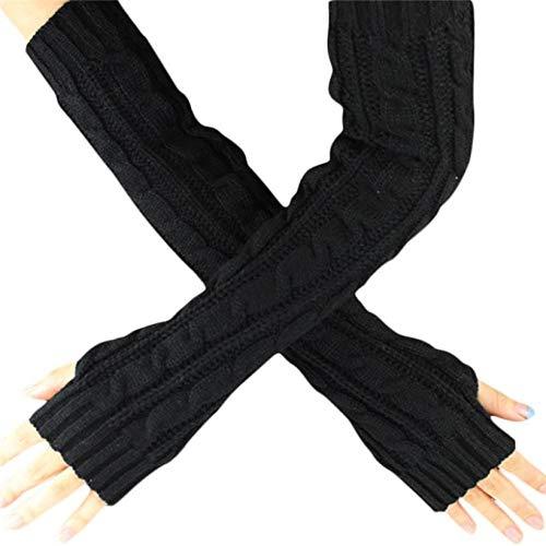 YOUZHA Frauen-strickende Handschuh-Damen-Winter gestrickte Fingerlose Stulpe-Handschuhe Normallack-Herbst-warme Arm-Lange Handschuhe, kakifarbig