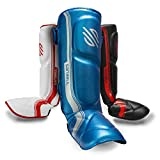 Sanabul Core Advanced Series Hook and Loop Strap Kickboxing Muay Thai MMA Shin Guards (Blue/Silver, S/M)