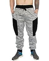 Reset Mens Fleece Joggers Sweatpants Elastic Waist Zipper Pockets Spacrdye Gray Large