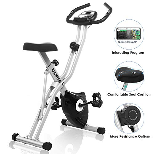 ANCHEER Indoor Cycling Bike Stationary, Excerise Bike Quiet Smooth Belt Drive System Flywheel Exercise Bike with Heart Rate and LCD Monitor, Adjustable Seat and Handlebars & Base for Home Workout