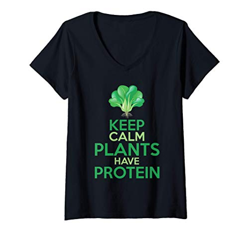 Mujer Divertido Brócoli Vegetariano Keep Calm Plants Have Protein Camiseta Cuello V