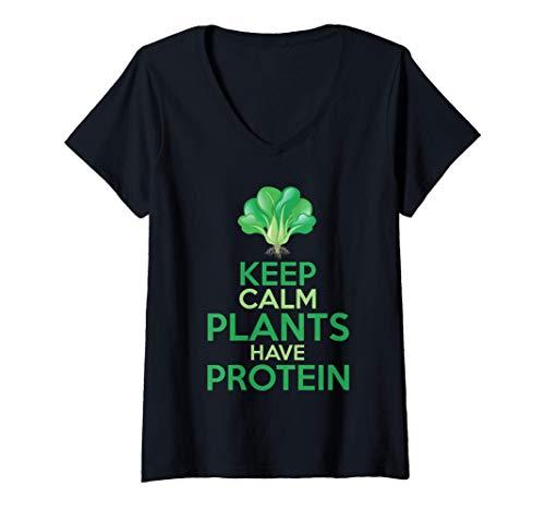 Mujer Divertido Brócoli Vegetariano Keep Calm Plants Have Protein Camiseta Cuello V