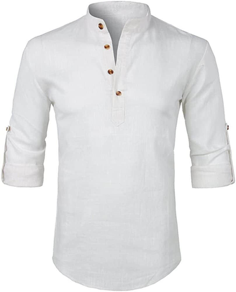 NP Mens Casual Henley Roll-up Sleeve Dress Male Slim Fit Long Sleeve Beige
