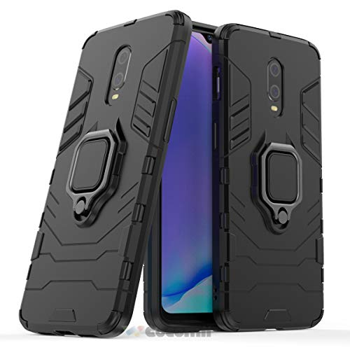 Cocomii Black Panther Ring OnePlus 7/6T Case, Slim Thin Matte Vertical & Horizontal Kickstand Ring Grip Reinforced Drop Protection Fashion Phone Case Bumper Cover for OnePlus 7/6T (Jet Black)