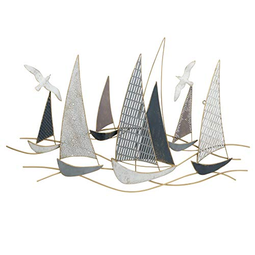 WHW Whole House Worlds Rustic Regatta Sail Boats, Abstract Modern Art, Gold, Blue, Grey and White,...