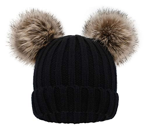 Simplicity Kids Boys Girls Plush Lined Pompom Ears Knit Ski Beanie Hat, Black