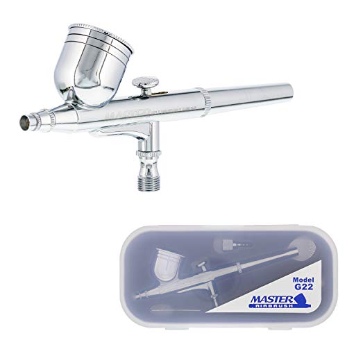 Master Airbrush Model G22 Multi-Purpose Dual-Action Gravity Feed Airbrush Set with a 0.3mm Tip and 1/3 oz. Fluid Cup - User Friendly, Versatile Kit - Spray Auto Graphics, Art, Crafts, Tattoos, Cake
