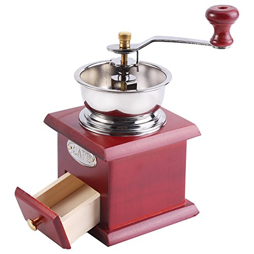 Manuelle Kaffeemühle Retro Holz Hand Kaffeemühle Kaffee Korn Burr Mill Maschine mit Catch Drawer(Red Wooden)