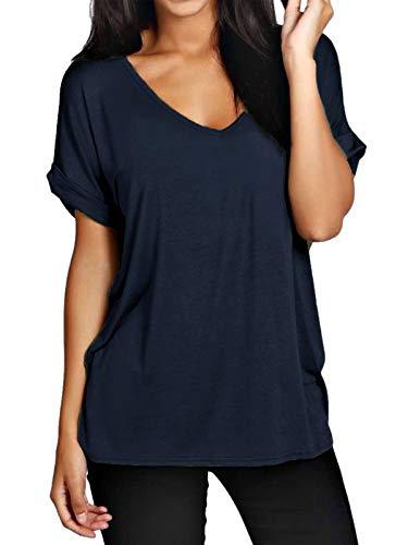 Zanzea Top Femme Eté T-Shirt Manche Courte Haut Sexy Tunique Chic Chemisier Blouse Mode, Marine, Taille 2XL/EU 48