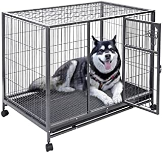 Lovely PET'S Kingdom- Foldable Heavy Duty Big Metal cage for Big Size Dogs with Wheels - L:125x B:94 x H:115cms