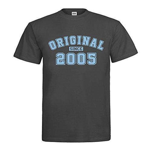 MDMA T-Shirt Original since 2005 N14-mdma-t00521-161 Textil darkgrey / Motiv himmelblau Gr. S