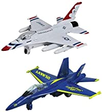"""InAir 8"""" Pullback Fighter Airplanes - F-18 Blue Angels & F-16 Thunderbirds - Set of 2"""