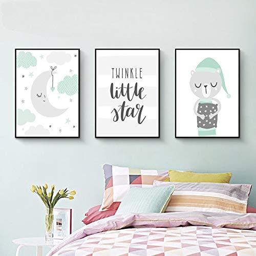 SDFSD Mint Green Woodland Cartoon Niedliche Tierbabys Dekor Leinwand Malerei Poster Drucke Wandkunst POP Bilder Kinderzimmer Wohnkultur 55x75cm