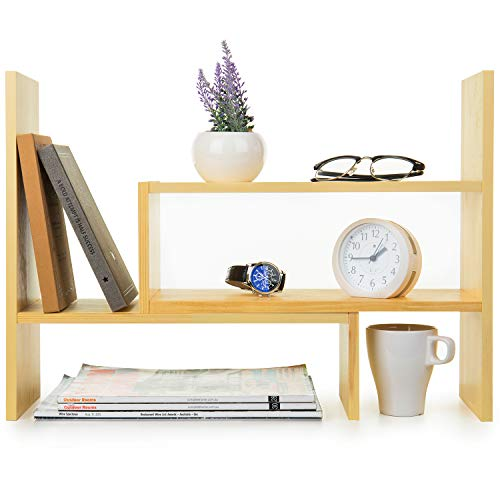 MyGift Adjustable Beige Wood Desktop Storage Organizer Display Shelf Rack, Countertop Bookcase for Office, Home, Living Room