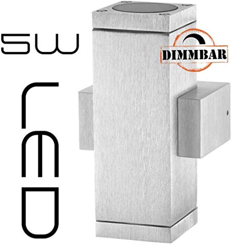 LEDANDO Hochwertige eckige LED Wandleuchte UpDown Alu dimmbar inkl. 2X LED GU10 Markenstrahler 5W - CNC gefrstes Alu - Silber - warmwei - für Innen und Auen - IP65