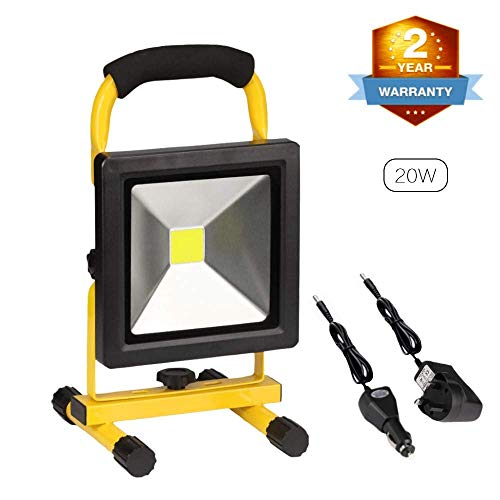 20W Rechargeable LED Work Light Super Bright 2500LM Portable Outdoor Floodlight Spotlight Waterproof Car Garage Home Emergency Security Light Lamp for Camping Garden