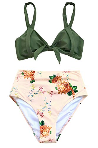 CUPSHE Women's Lost in The Dream High-Waisted Bikini Set Beach Swimwear Bathing Suit (Medium, Green Floral)
