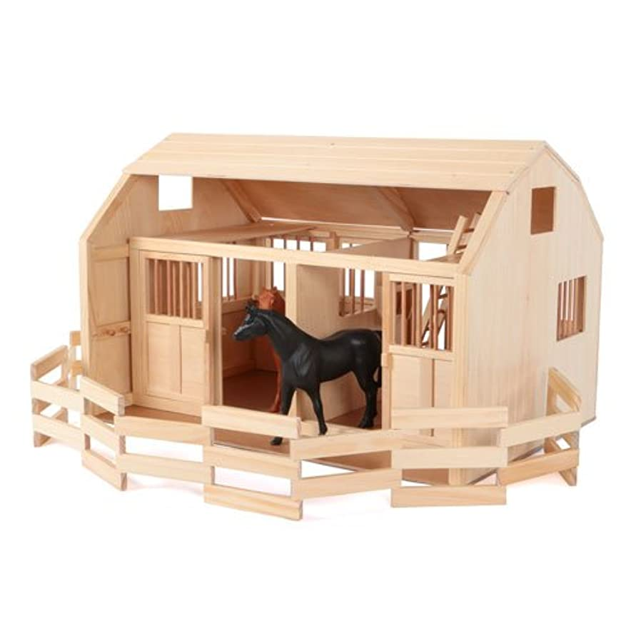 金曜日スキップ仕えるMaxim Enterprise、Grand Horse Stable Corral Fence。デラックス木製Barn Playset and Paddock